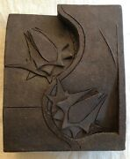 Marilyn Fox Architectural Ceramic Block Sculpture Abstract Flowers Slashes Signd