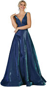 Special Occasion Sleeveless V-neck Pageant Evening Gown Shiny A-line Prom Dress