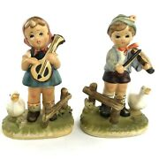 2 Vintage Erich Stauffer Boy And Girl 5 Figurines Violin Duck Goose Music Time