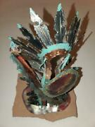 Jay L Tschudy Rare Handcrafted Metal Art Sculpture Indian With Shield And Arrow
