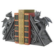 Ornate Winged Dragons Cresting Gothic Spires Sculptural Medieval Bookends
