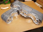 Offy Offenhauser Chevy 348/409 Valve Covers Polished Finned Aluminum