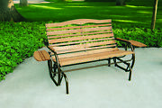 Outdoor Wood Bench Glider Rocker 2 Seat W/trays Wooden High Back Patio Furniture
