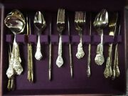 Stanley Roberts Royalty Rogers Silverware Sets 67 Pieces 24k Gold Plated