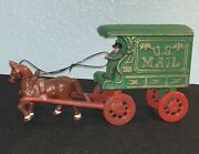 Antique Vtg Cast Iron Horse Man And Wagon Mail Truck Euc Rolling Wheels