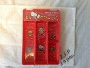 Sanrio Hello Kitty Retro Desk Tray Case Clear Lid Made In Japan F/s Vintage Zjp
