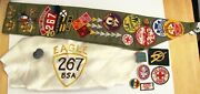 Vtg Type E Boy Scout Sash 23 Merit Badges Sterling Pin Eagle Neckerchief 1950and039s