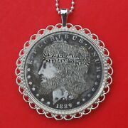 1889 Morgan Dollar Silver Coin Hobo Nickle Style Necklace - Hand Carved Jesus