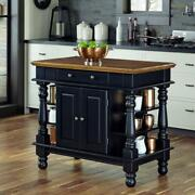 Black Kitchen Island Storage Pass-through Drawer And Cabinet Side Shelves Doors