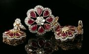 22k Pendant Set Solid Gold Elegant Classic Round Floral With Ruby Stone P2136