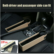 2pcs Beige Leather Car Seat Crevice Storage Box Organizer Coin Phone Cup Holder