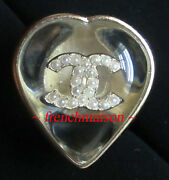Authentic Cc Logo Ring Heart Love Gold Pearl Classic New Sold-out Rare