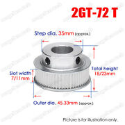 2gt-72t Timing Belt Pulley Synchronous Wheel 6-20mm Bore For 6/10mm Width Belt