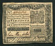Va-71 July 17 1776 1s 3p One Shilling Three Pence Virginia Colonial Currency Au
