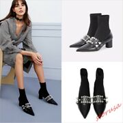 Womens Pointy Toe Stretchy Sock Boots Pearls Med Black Heels Party Ankle Boots