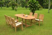 7-piece Outdoor Teak Dining Set 94 Masc Oval Table 6 Stacking Arm Chairs Wave