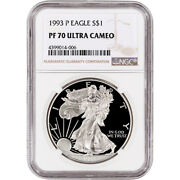1993-p American Silver Eagle Proof - Ngc Pf70 Ucam