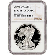 2000-p American Silver Eagle Proof - Ngc Pf70 Ucam