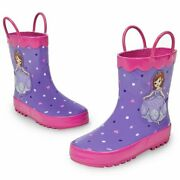 Disney Store Deluxe Sofia The First Rain Boots Shoes - Sophia Junior Purple Pink