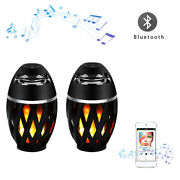 2 Pcs Led Flame Table Lamp Torch Atmosphere Bluetooth Speaker Weather Resistant