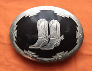 Vintage Johnson Held Cowboy Boots Inlay Handcrafted Western Belt Buckle