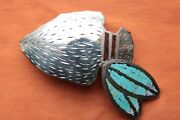 Johnson Held Hand Made Turquoise Inlay Indian Arrow Western Belt Buckle