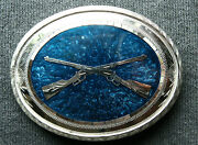 Vtg Johnson Held Mother Pearl Inlay Guns Rifles Hand Crafted Western Belt Buckle