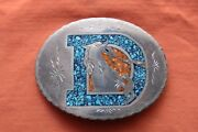 Vintage Hand Crafted Turquoise Coral Inlay Denver Broncos Belt Buckle