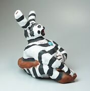 Hand Crafted Ceramic Hopi Koshare Sacred Clown With Turquoise 2002 Signed 6