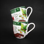 Fitz And Floyd Holly Hat Snowman Coffee Cake Mugs 2016 Christmas Cups Set Of 2