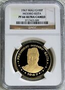 1967 Gold Mali 100 Francs Independence Anniversary Coin Ngc Proof 66 Ultra Cameo