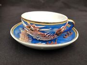 Chinese Dragon Antique Raised 3d Details Rare Vintage Asian Tea Cup And Saucer Set
