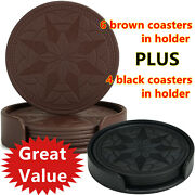 2 Sets Great Value Faux Leather Coasters For Drinks Protect Furniture
