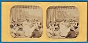 Tinted Tissue Stereoview Photo Stereo Musician Girls Play Guitar And Violin C 1860