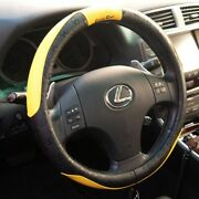 New Design Black And Yellow Slip-on Steering Wheel Cover Pvc Leather Size Small