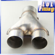 2.5 Inch Dual Inlet 3 Single Outlet Aluminized Steel Exhaust Y-pipe Us Stock