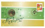 Australia 2012 Merry Christmas Jingle Bells 1 Unc Coin And Stamp Pnc Cover