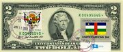 2 Dollars 2009 Star Flag And Coats Of Arms Central African Republic Value 500
