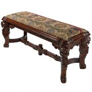 49 Majestic Lions Hand Carved Solid Mahogany Medieval Antique Replica Bench