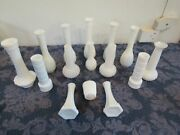 Mixed Lot 15 Quilted Ribbed Hobnail Milk Glass Bud Vases Wedding 6-9 Randall