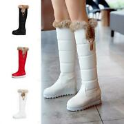 Winter Pure Color Womens Pull On Boots Trim Fur Metal Decor Snow Knee High Boots