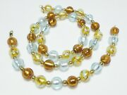 14k Yellow Gold Bead Marble Foil Glass Dichroic Murano Necklace Bracelet Set