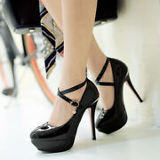 Womens Slim High Heels Shoes Platform Dating Party Bar Round Toe Buckle Cut Out