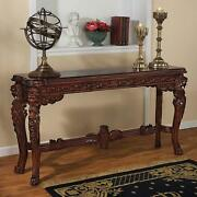 Majestic Lions Hand Carved Solid Mahogany Medieval Antique Replica Console Table