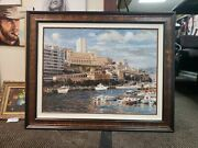 Cityscape Dock Hand Painted Original Oil Painting By Douglas City Boats Overpass