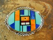 Rare Frank Yellowhorse 1970and039s Nvajo Sterling Turquoise Belt Buckle W/inlay Gems