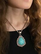 Large Signed Turquoise And Sterling Silver Pendant By Artie Yellowhorse Navajo