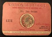 1947 Jackie Robinson Rc 1st Afro-american In Boston Gm Ticket Pass Boston Braves