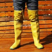 Menand039s Rain Boot Shoes Rubber Lace Up Fishing Waterproof Work Knee High Boots