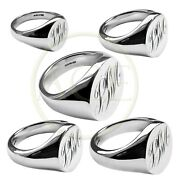 Hand Engraved Monogrammed Oval Signet Rings Solid 925 Sterling Silver Hallmarked